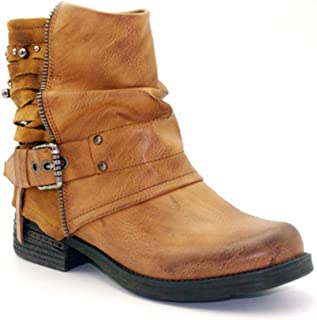 Veveca Women Waterproof Buckle Strap Plush Mid Heel Casual Short Western Boots PU Leather Zipper Ankle Boots