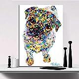 jzxjzx Coloridas Estampados de Animales Pinturas Lienzo Perro Caballo Elefante Imagen nórdico Pared Arte para Sala de Estar decoración del hogar