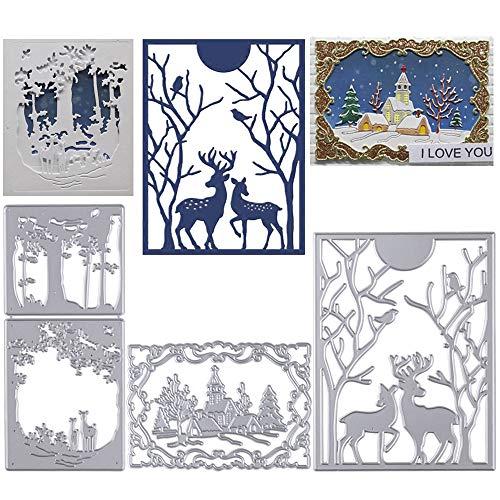 3pcs Troqueles Navidad Scrapbooking de Metal Diseño Navideños Reno árbol Troqueles de Corte Plantillas Dies Cut...