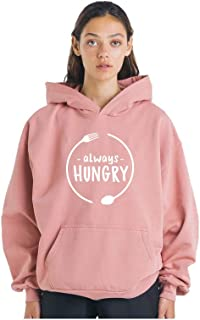 THE SV STYLE Unisex Dusty Pink Hoodie with Print: Always Hungry/Printed Pink Hoodie/Graphic Printed Hoodie/Hoodie for Men & Women/Warm Hoodie/Unisex Hoodie