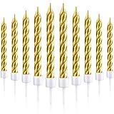 50 Pièces Spirale Bougies Gâteaux Supports Métallique Bougies de Petit Gâteau Bougies de Gâteau Minces Courtes pour la Décorations de Gâteaux d'anniversaire de Mariage (Or)