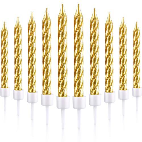 Blulu 50 Stück Spiral Kuchen Kerzen in Halterungen Metallisch Kuchen Cupcake Kerzen Kurze Dünne Kuchen Kerzen für Geburtstag Hochzeit Party Kuchen Dekorationen (Gold)