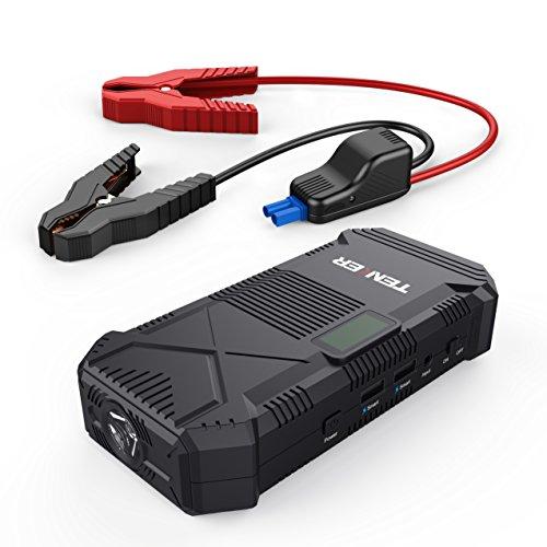 TENKER 14000mah 600A Avviatore Di Emergenza Per Auto Jump Starter, Caricabatterie Portatile Batteria Esterna Power Bank Intelligente con Porte Doppio USB, Torcia LED, Bussola, e Visore LCD