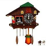 Pendule à Coucou de la Forêt Noire, Traditionnel Forêt Noire Maison Horloge, Coucou en Bois Véritable, 44x36cm,a