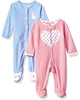 Carter's Baby Girls' 2-Pack Cotton Sleep and Play, Heart/Kitty, 3 Months