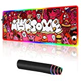 RGB Gaming Mouse pad Large Anime Graffiti Non-Slip Rubber Base Mice Keyboard Mat (Red)