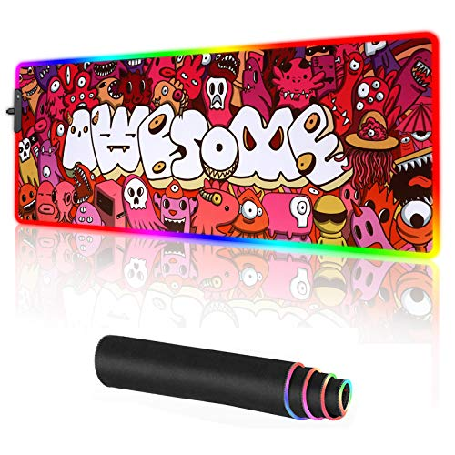 RGB Gaming Mouse pad Large Anime Graffiti Non-Slip Rubber Base Mice Keyboard Mat (Red)