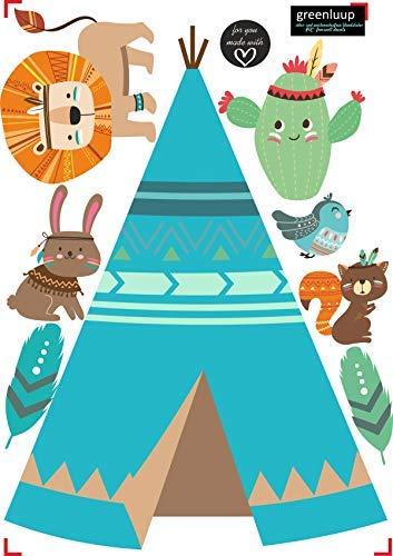 greenluup ökologische Wandsticker Indianer Tiere Zelt Kinderzimmer Babyzimmer Baby Wanddeko (w3)