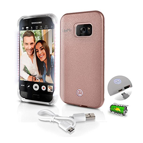 SereneLife Cellphone Case for Samsung - Galaxy S7 Selfie Lighted Smartphone Protection w/ Built-in Rechrgble Battery,Power Bank & LED Lights - Heavy Duty Android Phne Cover - AZSL301S7RG (Rose Gold)