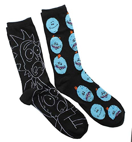 Rick and Morty Adult Crew Socks, Rick & Morty, Mr. Meeseeks 2-Pack