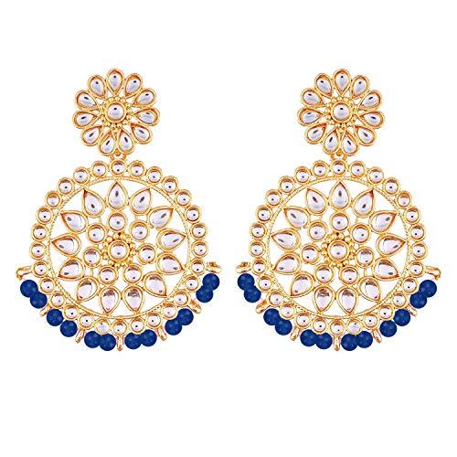 I Jewels Cuentas de Bollywood de boda india chapadas en oro de 18 k con aretes de imitación Kundan Chandbali para mujer (E2462Bl)