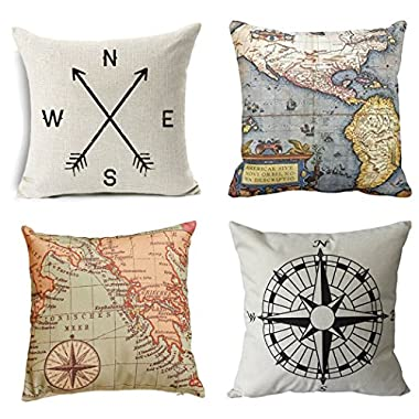 Geography Theme Throw Pillow Covers - Wonder4 Home Decorative Map Art Throw Pillow Cases Couch Covers Decoration,2X Maps +1x Compass + 1x Navigation Compass 18 X 18 Inch for Home Sofa Bedding Set of 4