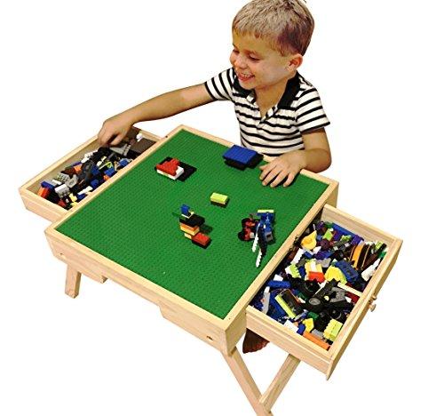 Wealthgirl Bloques de construcción para niños, mesa de múltiples actividades, plegable, versión actualizada, mesa de juegos de mesa, mesa de almacenamiento de juguetes, mesa de arena para niños regalo