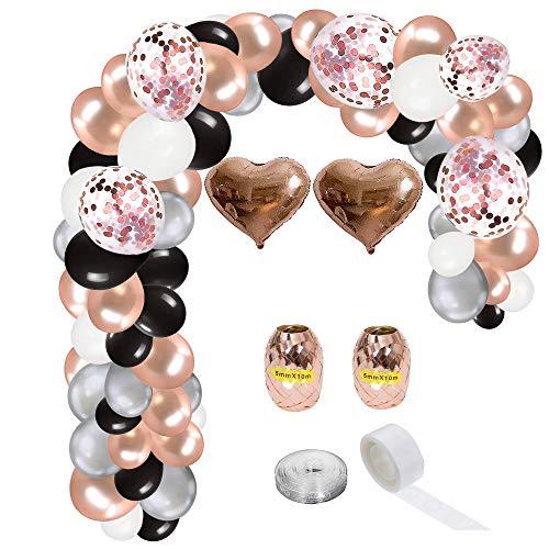 Kiara World 131Pcs Garland Arch Kit Set Rose Gold Grey Black White Latex Balloon Rose Gold Confetti Heart Foil Helium Balloon Anniversary Baby Shower Wedding Birthday Fashion Party Decorations