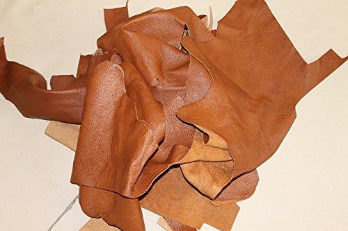 Retales de piel para manualidades (1 kg), color marrón claro