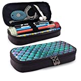 Teal Gold Mermaid Damascus Pattern Pencil Pen Case Zipper Bag Stationery Pouch Holder Box Organizador para Middle High School Office College