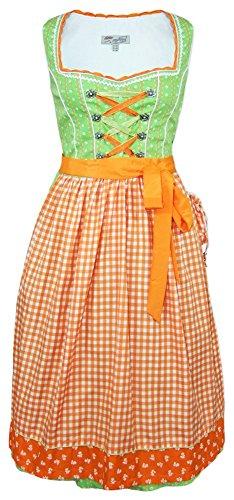 Lekra Dirndl Doro - Orange Grün 70 cm - Gr. 34