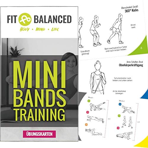 FIT BALANCED Miniband-Workouts Kartenset mit über 40 Übungen (+ Online-Video zu jeder Übung) und Workout-Ideen