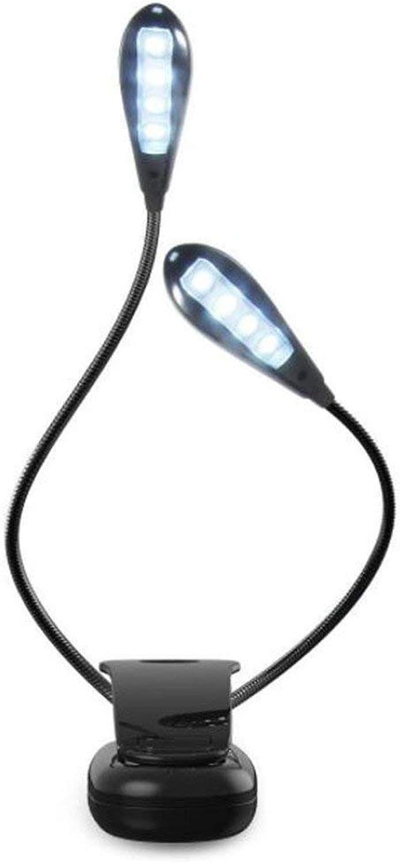ZHANG NAN ●  8LED USB-Doppelstnder-LED-Schreibtischlampe Mini-Eye-Caring-Faltbare Tischlampe Flexible Doppel-Schwanenhlse mit Clip für Nachttisch-Schreibtischlampen ●