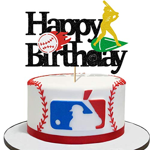 Glorymoment Baseball Birthday Cake Topper, Glitter Baseball Cake Topper for Kids Birthday Party, Baseball Happy Birthday Cake Topper for Man Boy Girl Sport Themed Bithday Party (6.7'' x 4.72'')