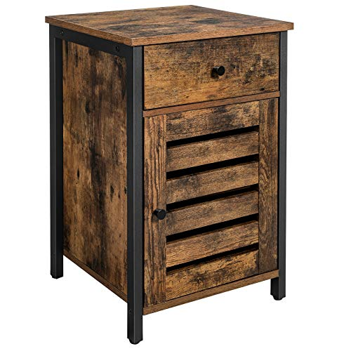 VASAGLE Nightstand, Side Table with Drawer, Shutter Door, End Table with Adjustable Shelf, Metal Frame, Industrial Style, Rustic Brown and Black ULET063B01