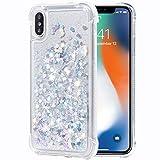 Flocute iPhone X Case, iPhone Xs Glitter Case Clear Bling Sparkle Floating Liquid Soft TPU Cushion Luxury Fashion Girls Women Cute Case for iPhone X XS (Silver)
