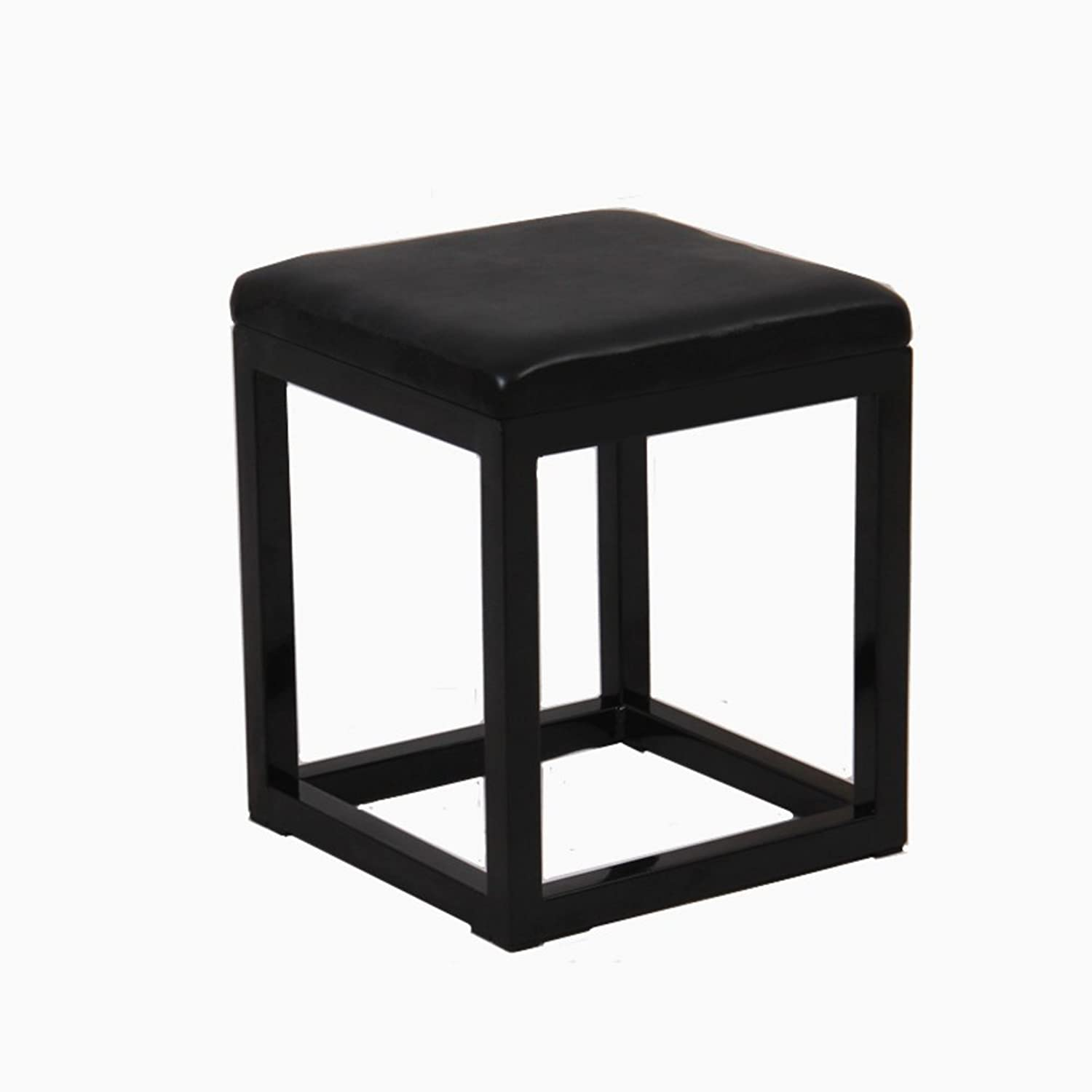 Nordic Style Leather Wrought Iron Stool,Metal Multifunctional Simple Modern Minimalist Durable Easy Storage Living Room Bedroom Home Decoration Stool-A 30x30x39cm