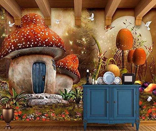 3D vliesbehang fotovlies premium fotobehang behang behang 3D fairy fantasy paddenstoelhuis kinderkamer achtergrond muur 430*300 430 x 300.