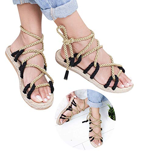 Buy Bargain Clearance! Swiusd Women's Retro Lace Up Roman Sandals Comfy Drawstring Tie Up Boho Flat ...