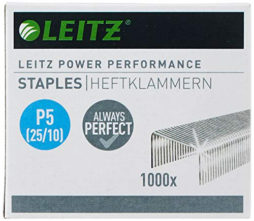 Leitz Power Performance Heavy-Duty Heftklammern P5 (25/10), Verzinkt, Box mit 1000 Heftklammern, 55740000