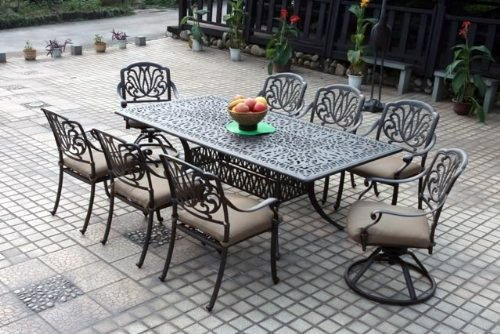 "Theworldofpatio Elizabeth Cast Aluminum Powder Coated 9-piece Dining Set with 44""x 84"" Rectangle Table - Antique Bronze"