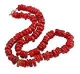 TreasureBay Collar de coral rojo para mujer, 47 cm, con cierre de pinza de...