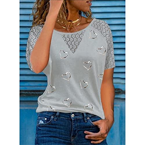 UKKO Camisetas Mujer Camisa De Impresión del Corazón Verano Lace De Mujer Costura Hueca De Manga Corta Top Casual Color Redondo Tshirt Ropa Más Tamaño-Gray,XXXL,China