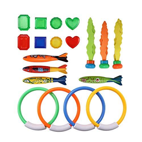 Kinberry Juguetes de buceo, 19 piezas subacuáticas para natación y buceo, juego de buceo con anillos de buceo, torpedo, tesoros, regalo impermeable para niños