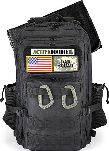 ActiveDoodie, Dad Diaper Bag for Men, Changing Pad, Stroller Straps, Bottle Pouch, Included Patches, Diaper Bag Backpack for Dad, Dad Squad