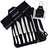 Arcos-Kabra Kit Cuchillos Bricolemar con 8 Piezas Serie Riviera Blanc + chaira + Tijeras asimétricas de Cocina en Bolsa de Transporte