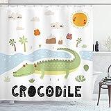 ABAKUHAUS Krokodil Duschvorhang, Kalligraphie Outdoor-Szene, Wasser Blickdicht inkl.12 Ringe Langhaltig Bakterie & Schimmel Resistent, 175x220 cm, Mehrfarbig