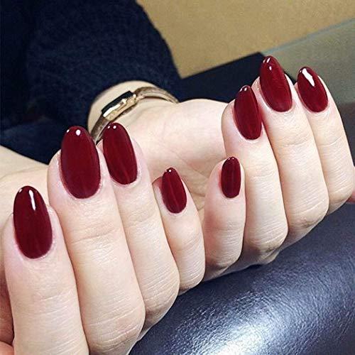 Handecss 24 Stück falsche Nägel Wein Bling Glitter Gel glänzendes Finish natürliche kurze ovale Nägel Full Cover Salon Nägel Kunst für Frauen