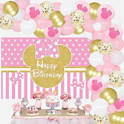 JOYMEMO Kit de arco de guirnalda de globos con temática de Minnie Mouse, color rosa y dorado