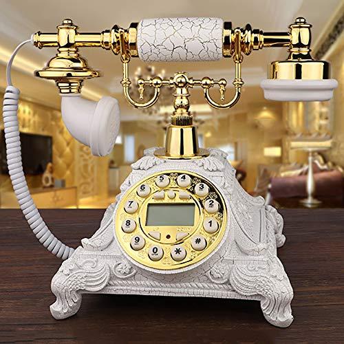Wanjun Teléfono Retro Estilo Europeo Retro Antiguo Teléfono Rotatorio Manos Libres Antiguo, Teléfono Fijo,buttonsmodels-goldenwhite