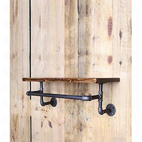 FCXBQ Vintage gammal industriell smidesjärn VVS hylla vägg hängande ställning skoställ vinhylla vägg massivt trä laminat hylla hängare