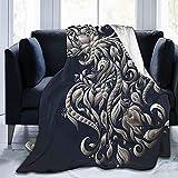 Manta de forro polar ultra suave para adultos con diseño victoriano inspirado en el símbolo real flores para acuario, icono retro, manta suave y cómoda para sofá