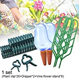 Jorzer Plant Support with Plant Clips and Self Watering Spikes Flower Vines Pot Stand Garden Plant Set for Plant Flower Indoor Outdoor