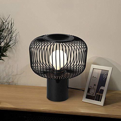 LHQ-HQ Personalidad nórdica hogar Creativo Minimalista Moda Decorativo Negro Hierro Forjado lámpara de Mesa Dormitorio Lámparas de la Sala de Estar los 28CM * 25CM Clásico Noble