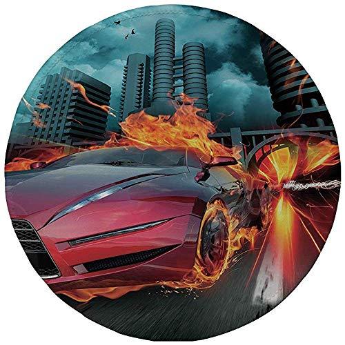 Ronde muismat, Auto's, Hot Red Concept Auto in Vlammen Blazing Banden Gebouw en Vogels Snelle Decoratieve, Rood Oranje Blauw