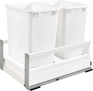 Rev-A-Shelf - TWCSD-18DM-2 - Double 35 Qt. White Pull-Out Wood Bottom Mount Waste Container with Servo-Drive for 15 in. Opening