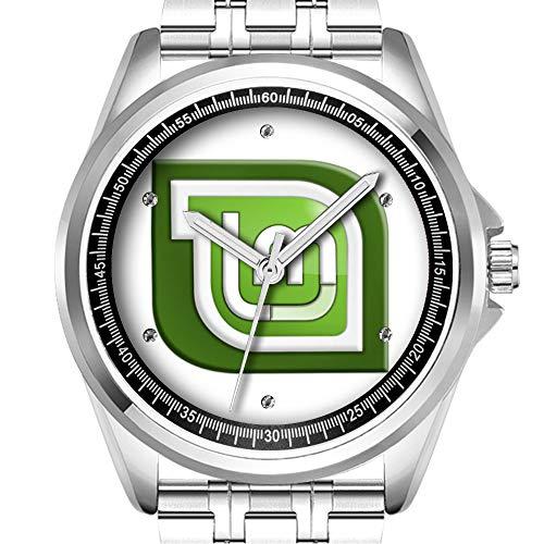 Personalisierte Herrenuhr Mode wasserdicht Uhr Armbanduhr Diamant 736.Linux Mint Logo Armbanduhr