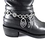 Silver Boot Bracelet Chain Motorcycle Accessory Heart Lock Key and Roses Love Valentine Custom Jewelry
