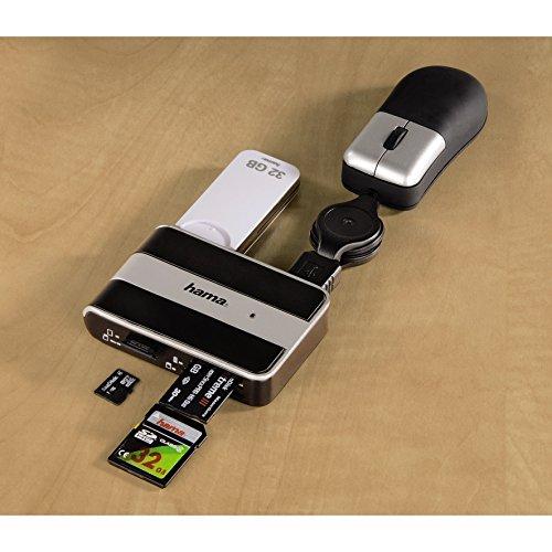 Hama Kartenlesegerät mit integriertem USB 2.0 Hub (Kompatibel auch mit Windows 10) schwarz