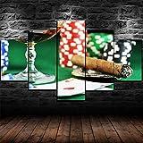 Impresión En Lienzo 5 Piezas Cuadro Sobre Lienzo,5 Piezas Cuadro En Lienzo,5 Piezas Lienzo Decor,5 Piezas Lienzo Pintura Mural,Fichas De Casino Enmarcadas Juegos De Póquer Cigar,Decoración Hogareña